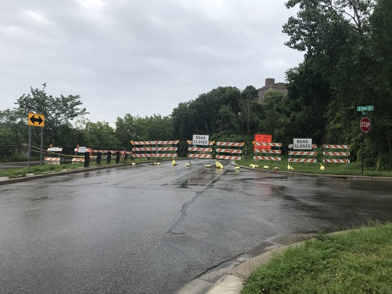 A mudslide closed West River Parkway on the University of Minnesota's West Bank campus around 10 p.m. Thursday, June 12, 2018.