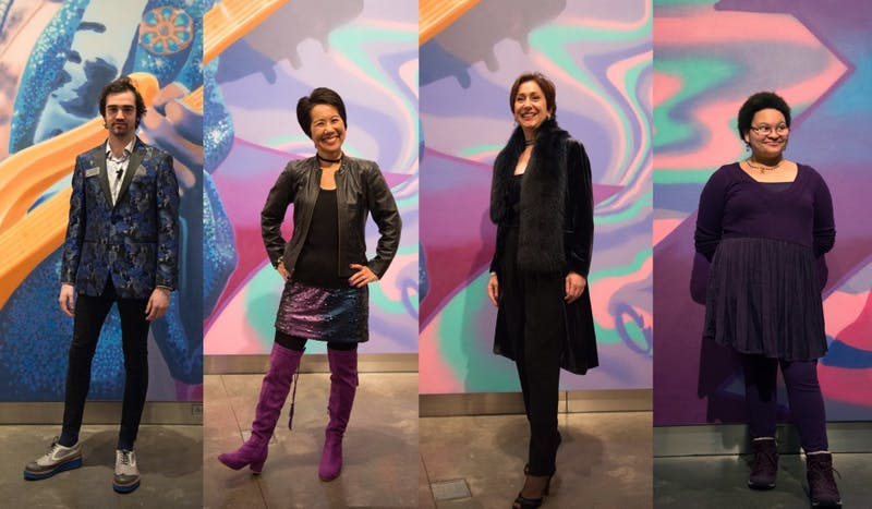 "From left, Michael Kreher, Kim Tsujimoto, Shirin Saadat, and Lorraine Lassig pose for portraits during the preview party for the Weisman Art Museum's ""Prince from Minneapolis"" exhibition."