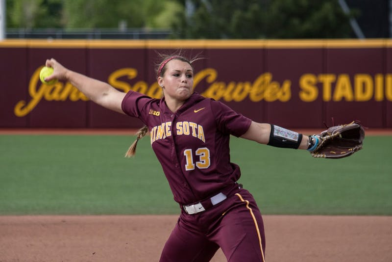 Junior Amber Fiser pitches during the game against Louisiana State University on Saturday, May 25, 2019 at the Jane Sage Cowles Stadium. (Jasmin Kemp / Minnesota Daily)