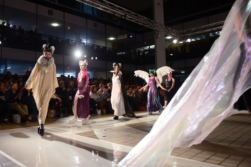 Sarah Mirman and models walk onto the runway in Rapson Hall on Saturday. The Ethereal Collection focuses on unique fabrics and high-class cosplay. Each dress in the collection is its own original red-carpet look for costume enthusiasts and celebrities alike.