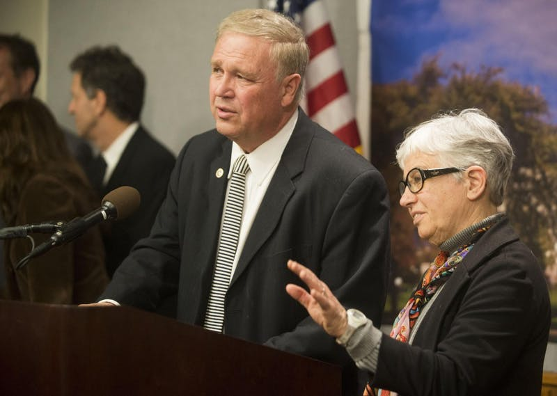 Minnesota State Representatives Dean Urdahl, left, and Phyllis Kahn answer questions about allocating funding for filmmaking in Minnesota on Wednesday, March 6, 2013, at the State Capitol. Lawmakers are proposing tax incentives and legacy funding to bring motion-picture production to the state.