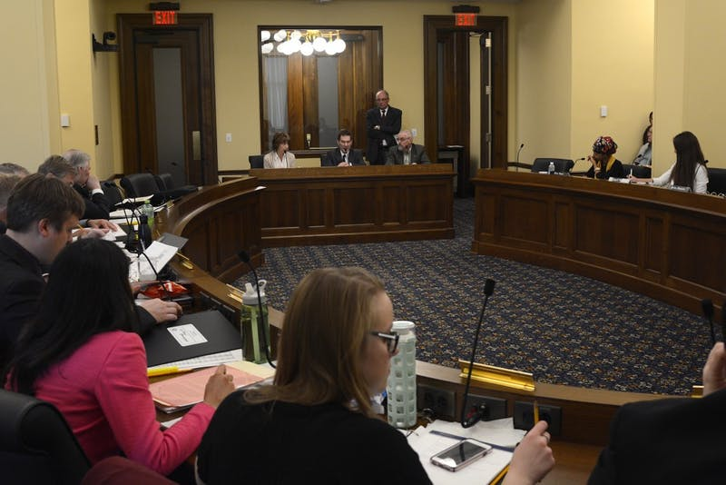 Associate Vice President for Budget and Finance Julie Tonneson, Dean of Undergraduate Education Robert McMaster, University of Minnesota Rochester Chancellor Stephen Lehmkuhle, and Faculty Consultative Committee Chair Colin Campbell address the Conference Committee on Higher Education at the Capitol on Tuesday, April 25, 2017.