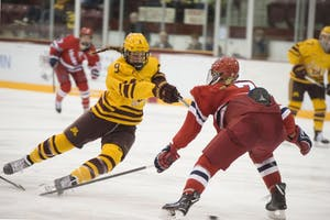 Freshman Taylor Heise goes for the goal on Friday, Dec. 7 at Ridder Arena. The Gophers won against the Robert Morris Colonials 6-1.