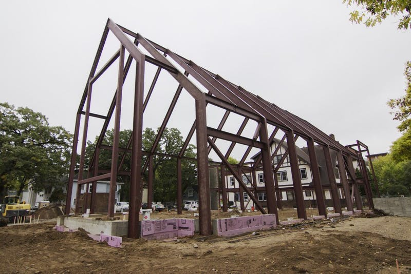 The new Lutheran church, located on the corners of 4th St. SE and 10th Ave. SE, is under construction on Tuesday, Oct. 2.