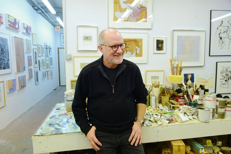 "Artist John Ilg spends time in his studio downtown St. Paul on Friday, 23 Jan.. Ilg's new work, ""2D 3D 4D 5D,"" is opening 30 Jan. at Coffman Union."