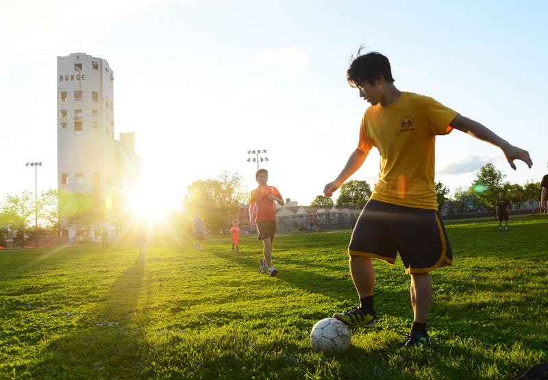 Justin Hui and fellow University graduate students play soccer at Van Cleve Park in Minneapolis on Monday evening. 14.9 percent of the city's land area is parkland.