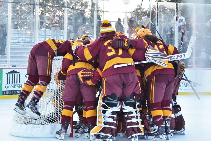 The Gophers play Ohio State as part of an outdoor game at Parade Stadium in Minneapolis on Saturday, Jan. 18. (Anna Landis / Minnesota Daily)