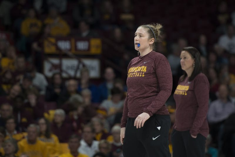 Coach Lindsay Whalen prepares to blow the whistle during Gopher women's basketball's annual exhibition versus the men's scout team on Saturday, Oct. 20 at Williams Arena.