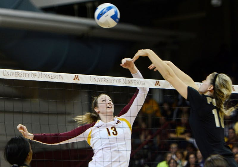 Gophers senior outside hitter Ashley Wittman sets up for a spike against Purdue on Sunday at the Sports Pavilion.