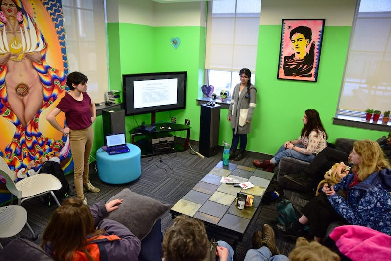 Members of Students for Justice in Palestine answer questions about divestment efforts during an event at the La Raza Student Cultural Center in Coffman Union on Wednesday, Feb. 28.