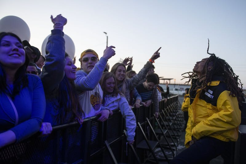 Spring Jam attendees cheer as they wait for Jay Rock to perform on Saturday, April 27 at the University of Minnesota.