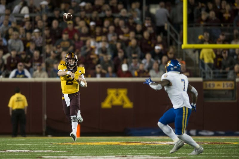 Quarterback Tanner Morgan throws the ball at TCF Bank Stadium on Thursday, Aug. 29. Minnesota defeated South Dakota State 28-21.