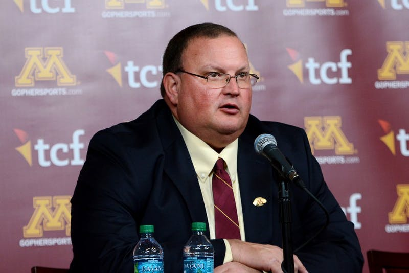 Tracy Claeys speaks at a press conference after being named head coach at TCF Bank Stadium on Nov. 11.