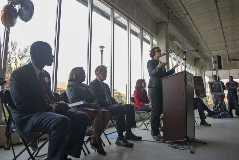 Minneapolis Mayor Betsy Hodges speaks at the groundbreaking event for the Cedar Riverside Opportunity Center on Oct. 29, 2016. The center will work to help community members, many of whom are East African immigrants, find jobs.