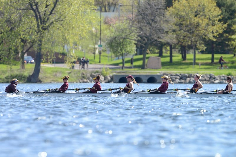 Minnesota rowers Meredith Kelly, Joyce Jollands, Lauren Gonsalves, Madison Koch, Lauren Miller, Allison Sterneman, Kersten Schwanz and Emily Appold compete against Wisconsin in the second varsity eight race on Lake Phalen on Sunday morning.