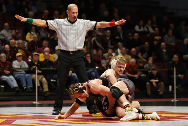 Minnesota's Tommy Thorn takes on a Purdue's Parker Filius at Maturi Pavilion on Sunday, Feb. 3.