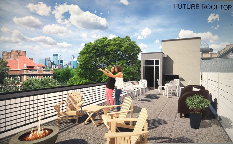 Hillel's rooftop will overlook downtown Minneapolis and Folwell Hall when the building reopens this upcoming fall semester. (Image courtesy of MN Hillel)