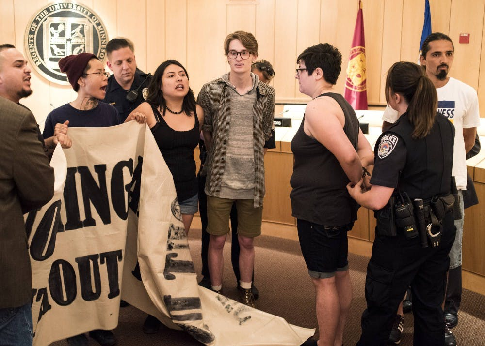 6 protesters arrested at University Board of Regents meeting
