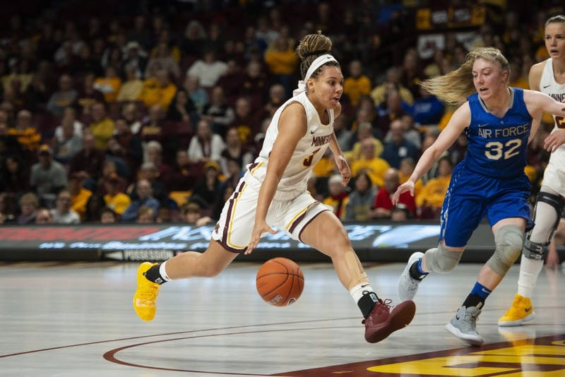 Sophomore Destiny Pitts runs toward the hoop on Sunday, Dec. 2 at Williams Arena. The Gophers beat the Air Force Falcons 67-50.