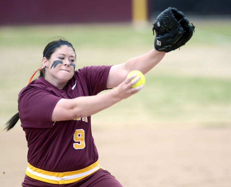 Minnesota pitcher Sara Moulton winds up to throw a pitch against Indiana on Saturday, May 4, 2013, at Jane Sage Cowles Stadium.