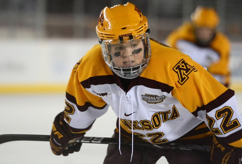 Minnesota forward Hannah Brandt waits for the puck to be dropped Friday, Jan. 17, 2014, at TCF Bank Stadium.