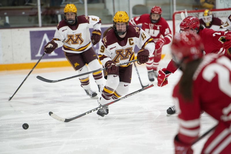 Redshirt senior Kelly Pannek skates toward the puck on Friday, Jan. 18 at Ridder Arena. The Gophers lost to the Wisconsin Badgers 2-1.