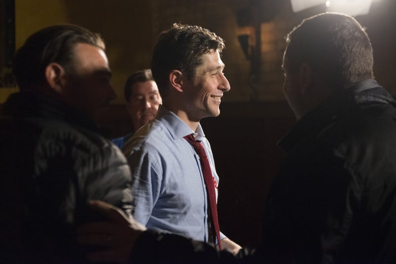 Mayor-elect Jacob Frey smiles at the end of his Election Day party at Jefe: Urban Hacienda on Nov. 7.