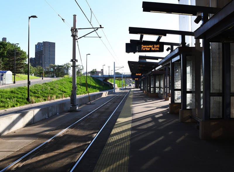 The West Bank light rail station sits empty after Metro Transit suspended service on Thursday, May 28.