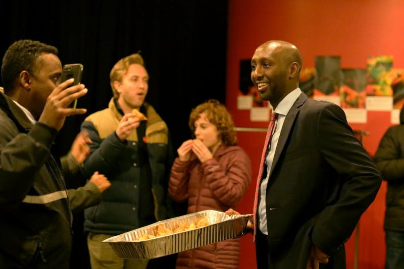 Democratic Candidate Mohamud Noor at his election party on Tuesday, Nov. 6 at Mixed Blood Theater on West Bank. He was elected to represent the Minnesota House of Representatives District 60B.