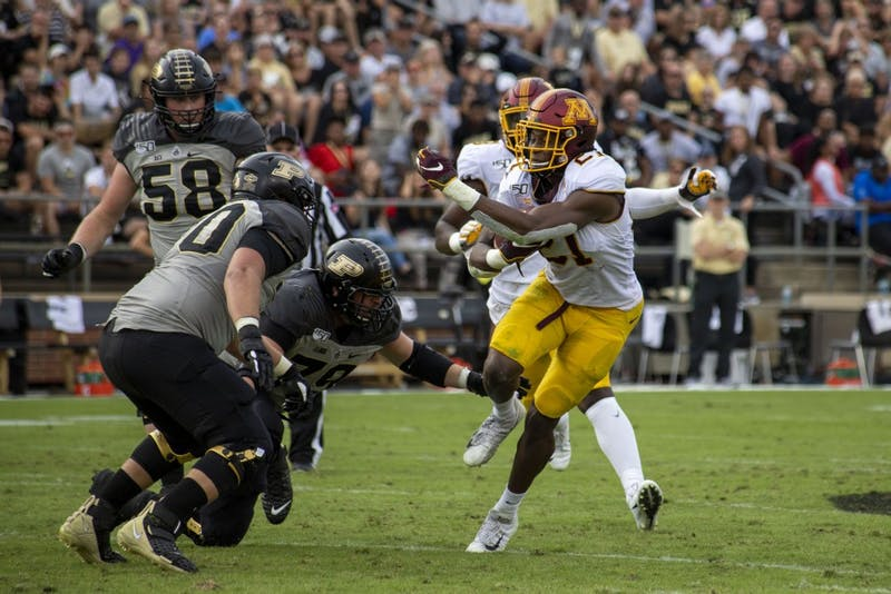 Running back Bryce Williams carries the ball at Ross-Ade Stadium on Saturday, Sept. 28, 2019. The Gophers earned a 38-31 victory over Purdue.