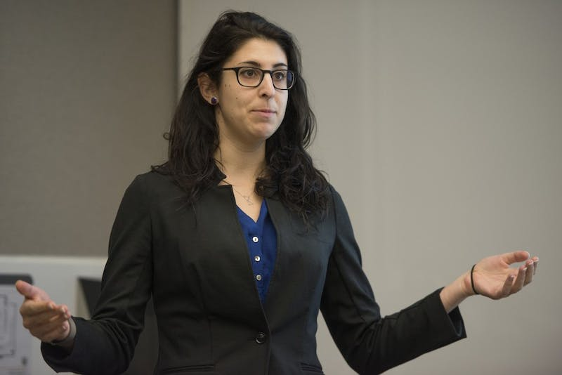 University law student Rebecca Rosefelt, who worked as an intern during Summer 2017 in Mexico conducting research on international standards for juvenile detention, spoke at Mondale Hall on Wednesday, Oct. 10, 2018. Her research shows that many juveniles are detained for long periods of time while police investigated their cases, even though they weren't charged yet.