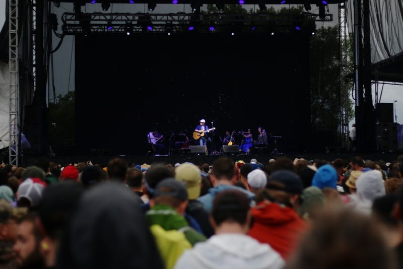 """Paul Simon plays for a packed crowd of the weekend on Saturday, June 17, 2017 at Eaux Claires in Wisconsin. """"Anger breeds anger,"""" said the 75-year-old artist as he delivered a short monologue."""