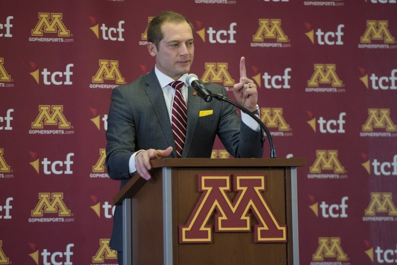 Newly appointed Gophers football coach P.J. Fleck speaks during a press conference on Friday, Jan. 6, 2017 at TCF Bank Stadium.