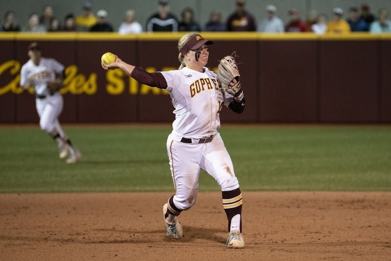 Junior Katelyn Kemmetmueller throws the ball to first base for an out on Friday, May 17, 2019 at Jane Sage Cowles Stadium in Minneapolis. The Gophers beat North Dakota State University 3-0.