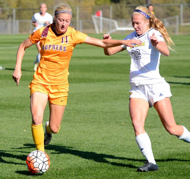 Junior Midfielder Josee Stiever dribbles the ball at the Elizabeth Lyle Robbie Stadium on Sunday where the Gophers tied the University of Michigan 0-0 in overtime.