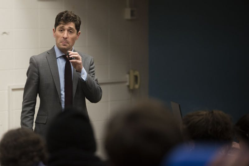 Minneapolis Mayor Jacob Frey answers questions from students at the Minnesota Student Association forum in Blegen Hall about issues that affect them and their peers on Tuesday, Feb. 26.