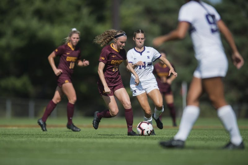 Forward April Bockin fights for the ball at Elizabeth Lyle Robbie Stadium on Sunday, Sept. 16. The Gophers defeated Northwestern 2-0.