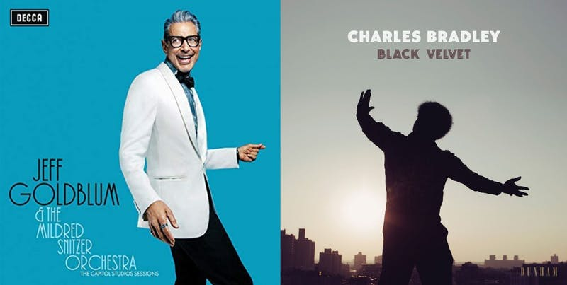 "Album covers for Jeff Goldblum & The Mildred Snitzer Orchestra's ""The Capitol Studios Sessions"" and Charles Bradley's ""Black Velvet"""