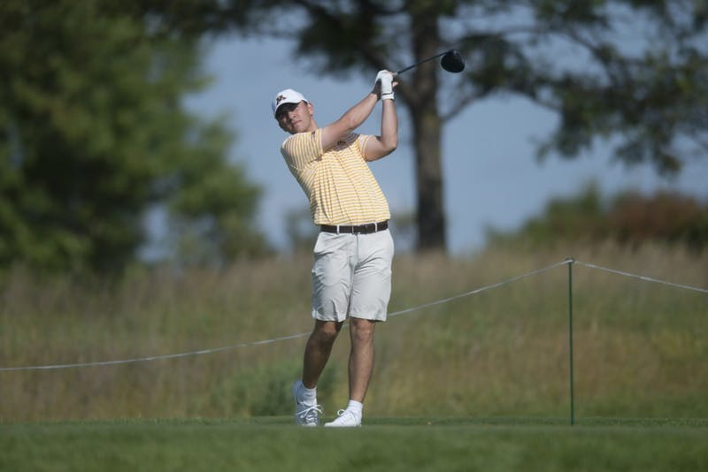 Senior Peter Jones plays during the Gopher Invitational on Sunday, Sept. 9 at Windsong Farm Golf Club in Maple Plain