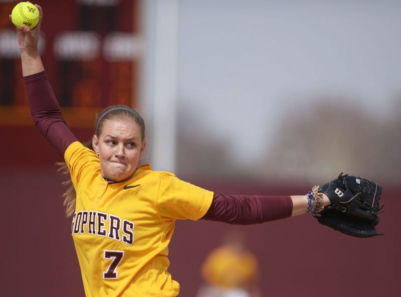 Minnesota pitcher Kelsey Kimminau pitches during a double header against Madison on Sunday, April 7, 2013, at Jane Sage Cowles Stadium.
