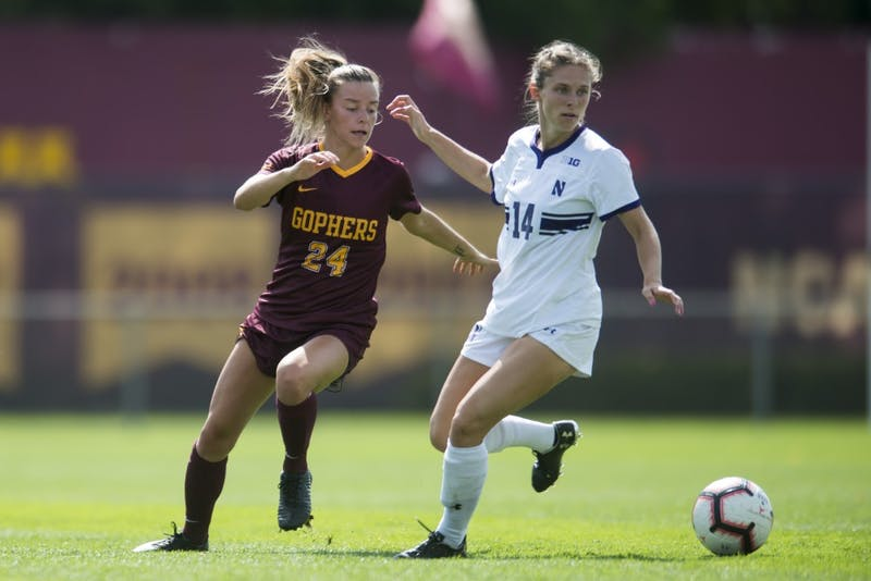 Defender Marisa Windingstad intercepts the ball at Elizabeth Lyle Robbie Stadium on Sunday, Sept. 16. The Gophers defeated Northwestern 2-0.