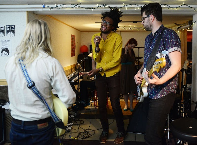 """Six-piece Minneapolis band Black Diet rehearse in Minneapolis on Tuesday night. Black Diet is celebrating the release of their first album, """"Find Your Tambourine,"""" on Saturday at the Hymie's Record Store Day Block Party."""