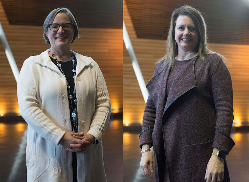 Katey Pelican, left, and Amy Kircher ,right, pose for a portrait at the launch of the Strategic Partnerships and Research Collaborative at the McNamara Alumni Center on Tuesday, Jan. 29.