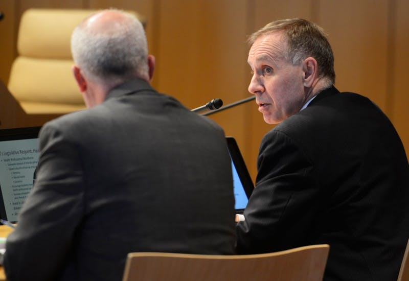 Dean of the Medical School Brooks Jackson speaks during the Board of Regents meeting at McNamara Alumni Center on Friday morning.
