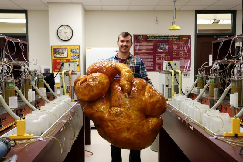 Graduate researcher Trent Dado poses for a portrait holding a real, dried cow stomach on Friday, Oct. 26 at Haecker Hall on Saint Paul campus. Dado is working on research that uses enzymes to mimic cow stomachs with the goal of improving the animals' digestive systems.