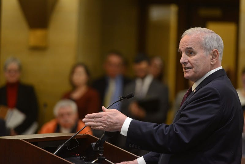 Governor Mark Dayton answers questions during a press conference about Minnesota's budget at the Capitol in St. Paul on Tuesday, Feb. 28, 2017.