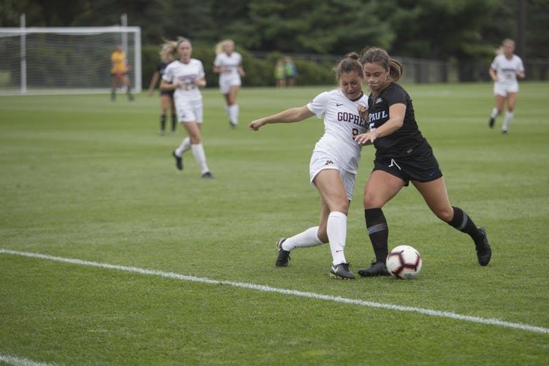 Senior Maddie Castro goes for the ball during the game against DePaul on Thursday, Aug. 30 at Elizabeth Lyle Robbie Stadium.
