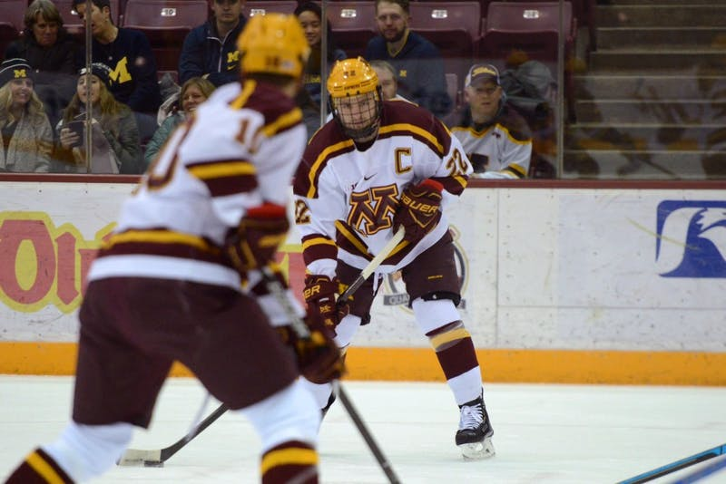 Senior Tyler Sheehy looks to pass the puck on Friday, Feb. 1 at 3M Arena at Mariucci.