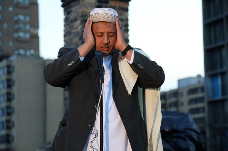 Ahmed Jamal, the first muezzin to give the adhan from the roof of Dar Al-Hijra Mosque in Cedar-Riverside on Thursday, April 23. Courtesy of Abdirahman Mukhtar.