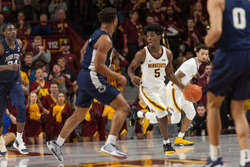 Gophers Guard Marcus Carr makes his way down the court at Williams Arena on Wednesday, Jan. 15.  Minnesota defeated the Penn State Nittany Lions 75-69. (Kamaan Richards / Minnesota Daily)